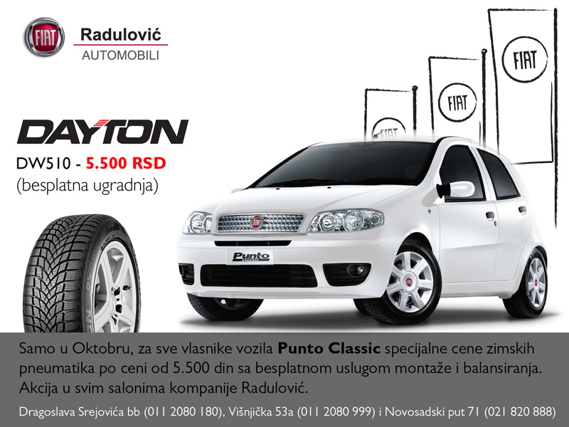 Radulović automobili akcija: Za vlasnike Punto Classic vozila zimske gume za 5.500 dinara