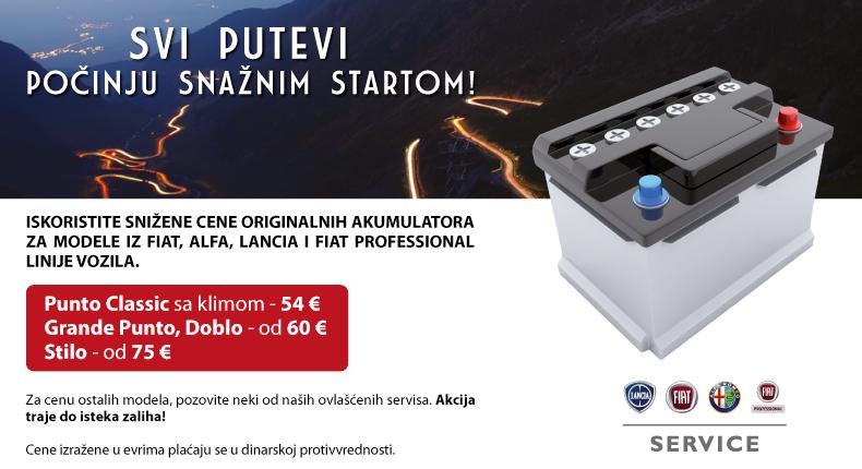 Snižene cene originalnih akumulatora za modele iz Fiat produkcije