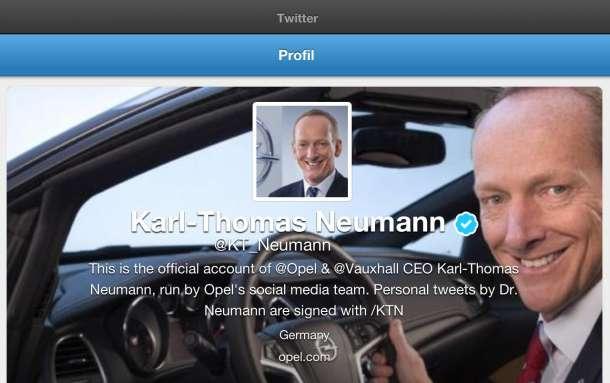 Opelov izvršni direktor dr. Karl-Thomas Neumann od sada na Twitteru